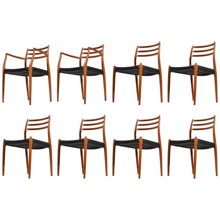 Niels O. Møller Dining Chairs Model 78 by J.L Møllers Møbelfabrik in Denmark For Sale
