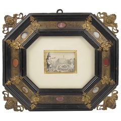 17th Century Italian Bronze and Stone Renaissance Frame Jacques Callot Etching