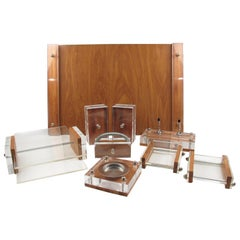 Herb Ritts Astrolite Collection Modern Lucite and Oak Desk Set Accessory, 9 Pc
