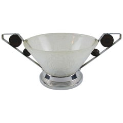 Choisy-le-Roi French 1930s Art Deco Opalescent Glass Bowl Centrepiece