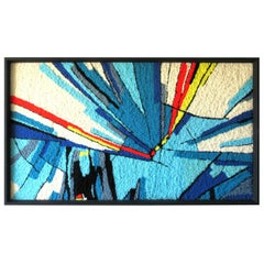 Large Pop Art Abstract Framed Handwoven Art Rug, circa 1970s