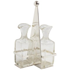 Art Deco Silver Plate and Crystal Oil and Vinegar Cruet Table Set by Quist
