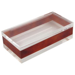 1970s Modernist Clear and Red Tea Amber Lucite Acrylic Long Lidded Box