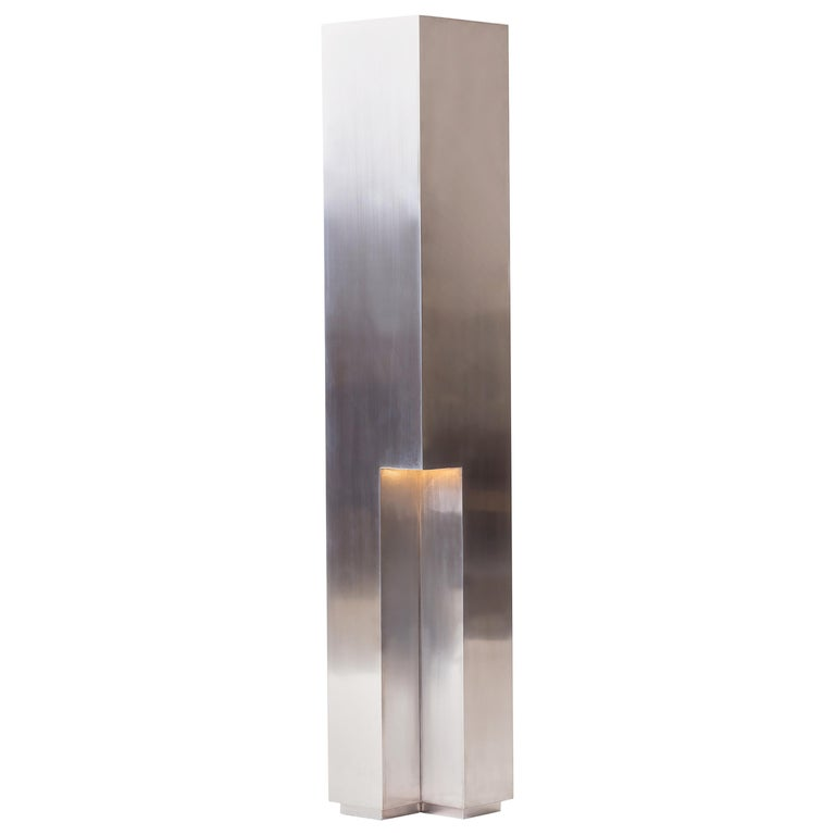 Empire Floor Lamp in Polished or Satin Aluminum or Brass