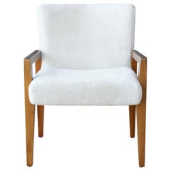 Midcentury Armchair in Shearling Upholstery, Italy, 1950s