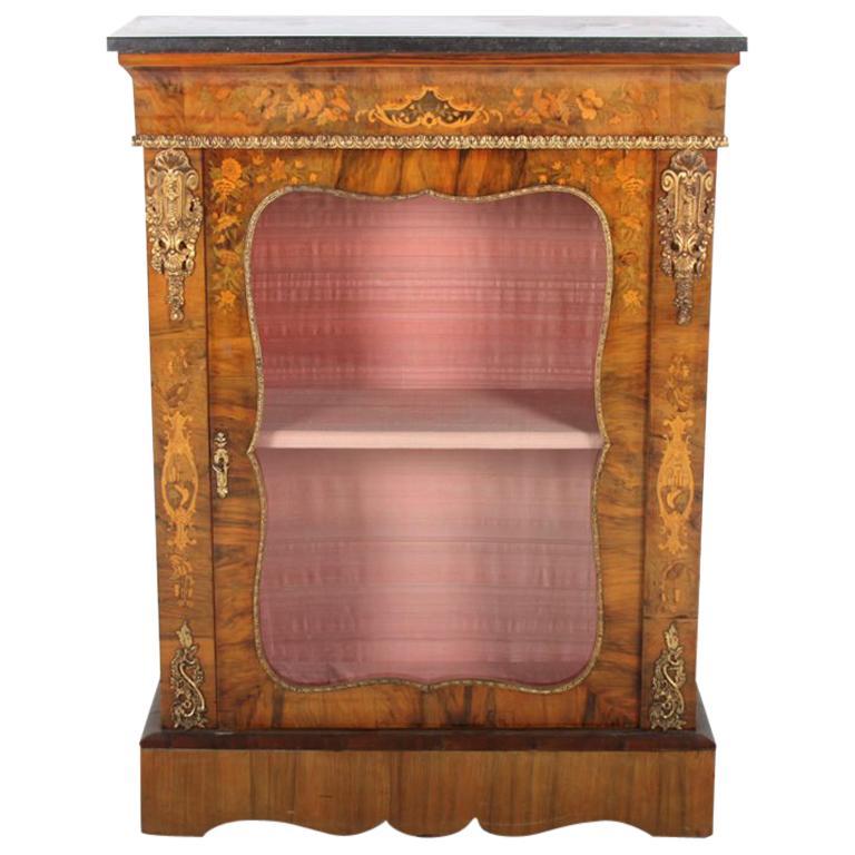 19th Century Inlaid Burl Walnut Cabinet