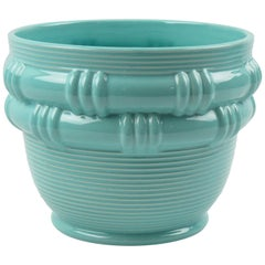 Blanche Letalle for Saint Clement 1950s Turquoise Ceramic Glaze Vase Planter