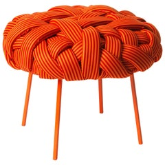 Contemporary Handwoven - Cloud Stool, Medium, Orange