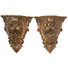 Pair of Giltwood Consoles, Wall Brackets
