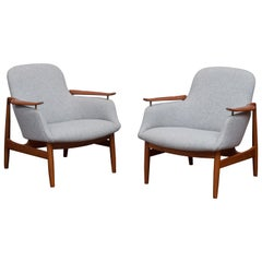 Finn Juhl NV53 Lounge Chairs for Niels Vodder