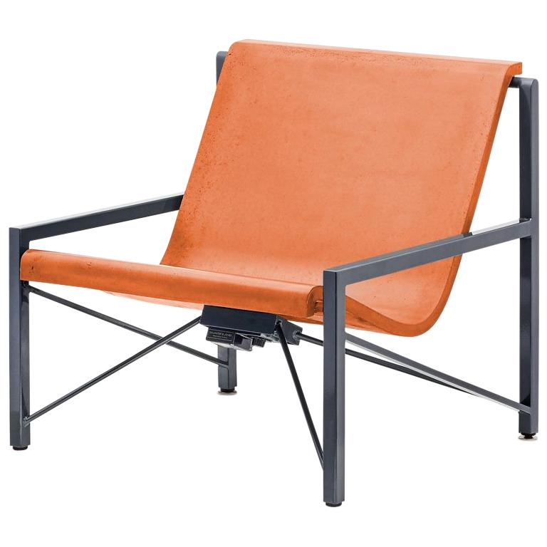 Heated Indoor/Outdoor Cast Stone Evia Chair, Custom Frame, Orange For Sale