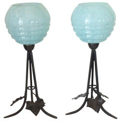 Pair of Art Deco Black Forge Iron Lamps with Sky Blue Shades