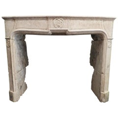 Louis XV Early 19th Century Fireplace in French Limestone