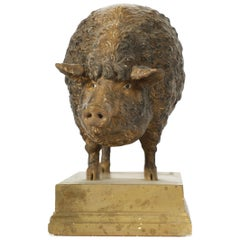 Very Fine Plaster Model of a Mangalicza Pig by Max Landsberg, Berlin, 1883