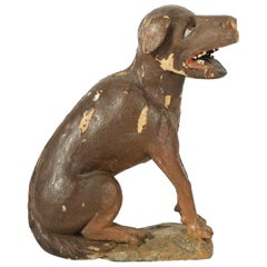 Early 18th Century Carved Wood Dog Figure of the St. Rochus of Montpellier