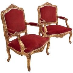 Pair of Large Italian Louis XV Style Giltwood Armchairs, Rome, circa 1770