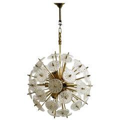 Midcentury Crystal Sputnik Chandelier by Val Saint Lambert, 1950s
