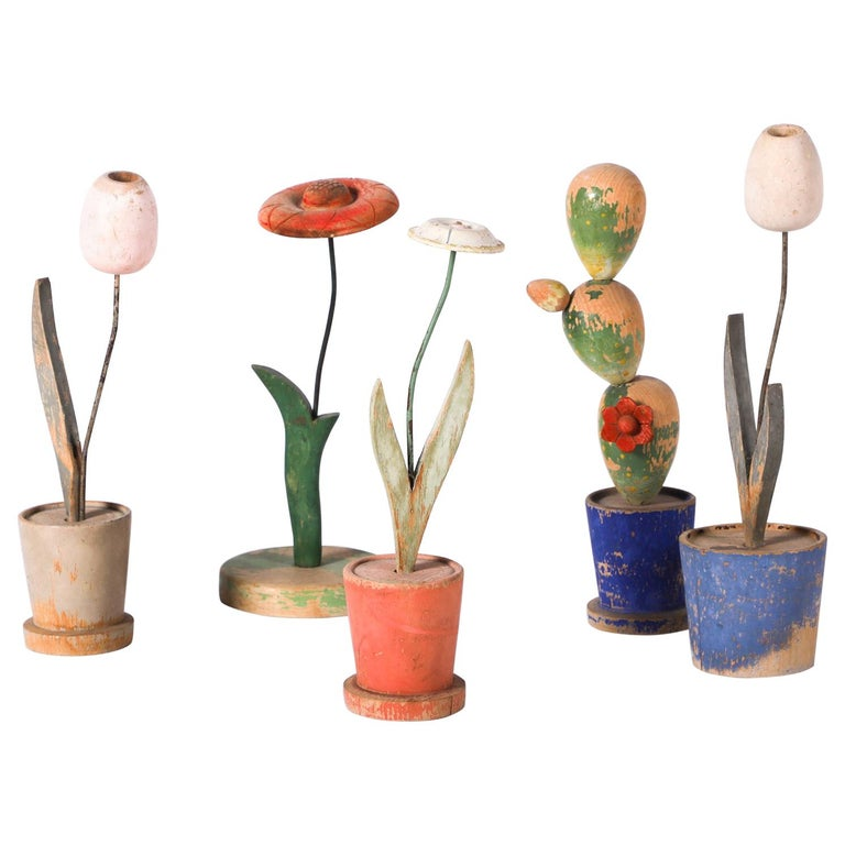 Interesting Lot of Five Wooden Toy Plants by Gertrude Bartl, Vienna, 1930s