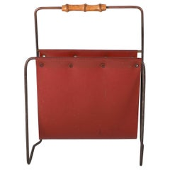 Midcentury Brass and Plastic Magazine Rack in the Manner of Carl Auböck