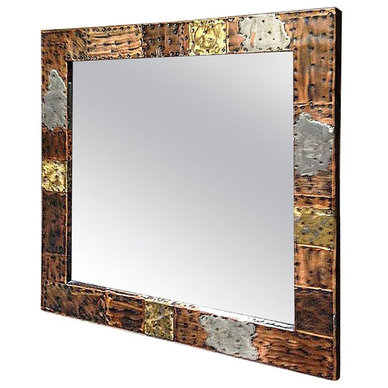 Paul Evans Bold Patchwork Mirror in Copper, Brass and Pewter For Sale