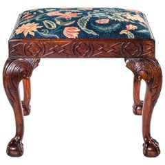 18th Century English Georgian Walnut Needlework Stool