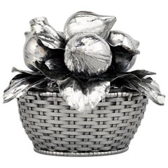Buccellati Silver Fig Fruit Basket Centerpiece