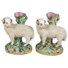 Antique English Figural Porcelain Staffordshire School Sheep Spill Vases