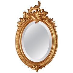 Dainty French Rococo Oval Gilt Wall Mirror