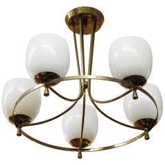 Italian Mid-Century Modern Brass Chandelier