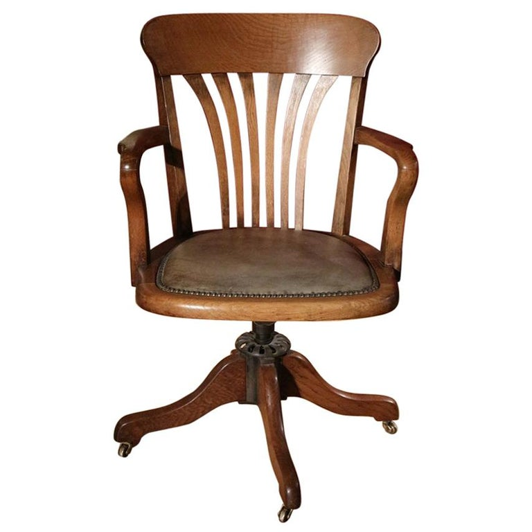 19th Century Antique Oak Office Chair For Sale - 19th Century Antique Oak Office Chair For Sale At 1stdibs