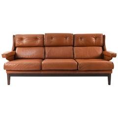 Danish Midcentury Leather Three-Seat Sofa