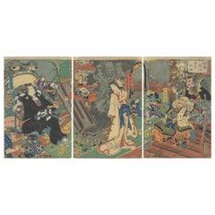 Kunichika Toyohara, Triptych, Japanese Woodblock Print, Ukiyo-e, Folklore, Frog