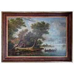 18th Century Oil on Board Continental School of Lake Scene