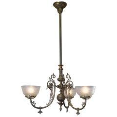 19th Century Spanish Three-Light Gas Chandelier