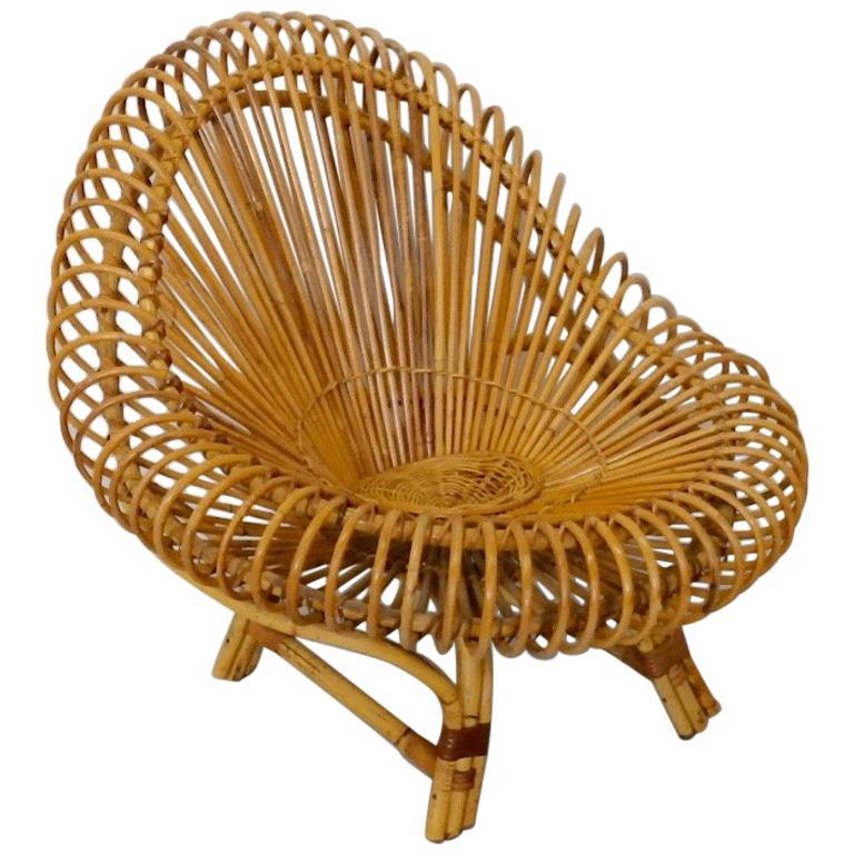 Franco Albini Style Split Reed Bamboo Lounge Chair