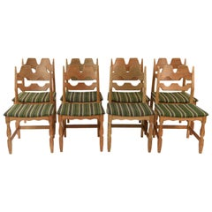 Set of Eight 1960s Oak Dining Chairs by Henning Kjærnulf