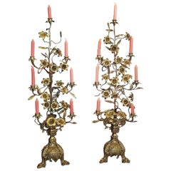 19th Century Pair of French Solid Brass Floor Candelabras