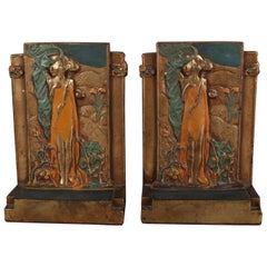 "Art Nouveau Polychromed Bronzed Bookends Stylized After Klimt's ""The Kiss"""