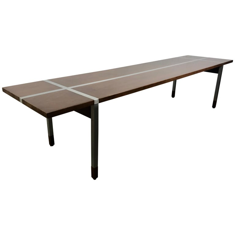 Modernist Walnut and Aluminium Coffee Table or bench by Selig, Denmark