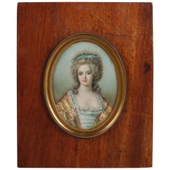 French Miniature Cellulose Portrait Painting of Marie Antoinette, 19th Century