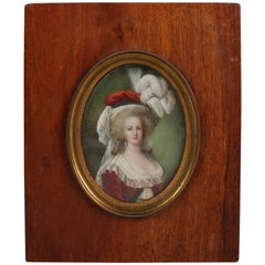 Antique French Miniature Cellulose Portrait Painting of Marie Antoinette