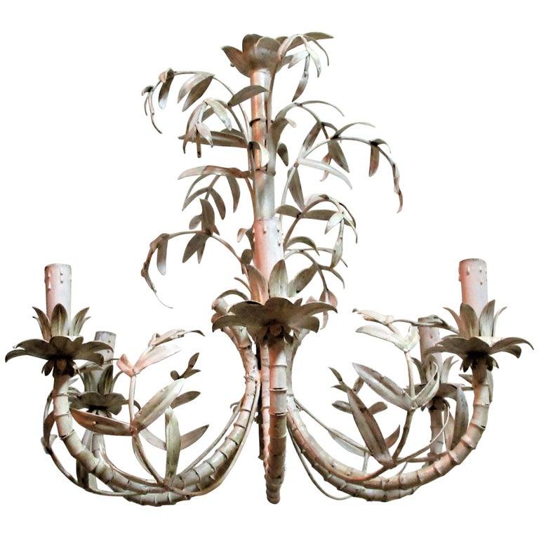 Italian Tin Tole Palm Branch Chandelier