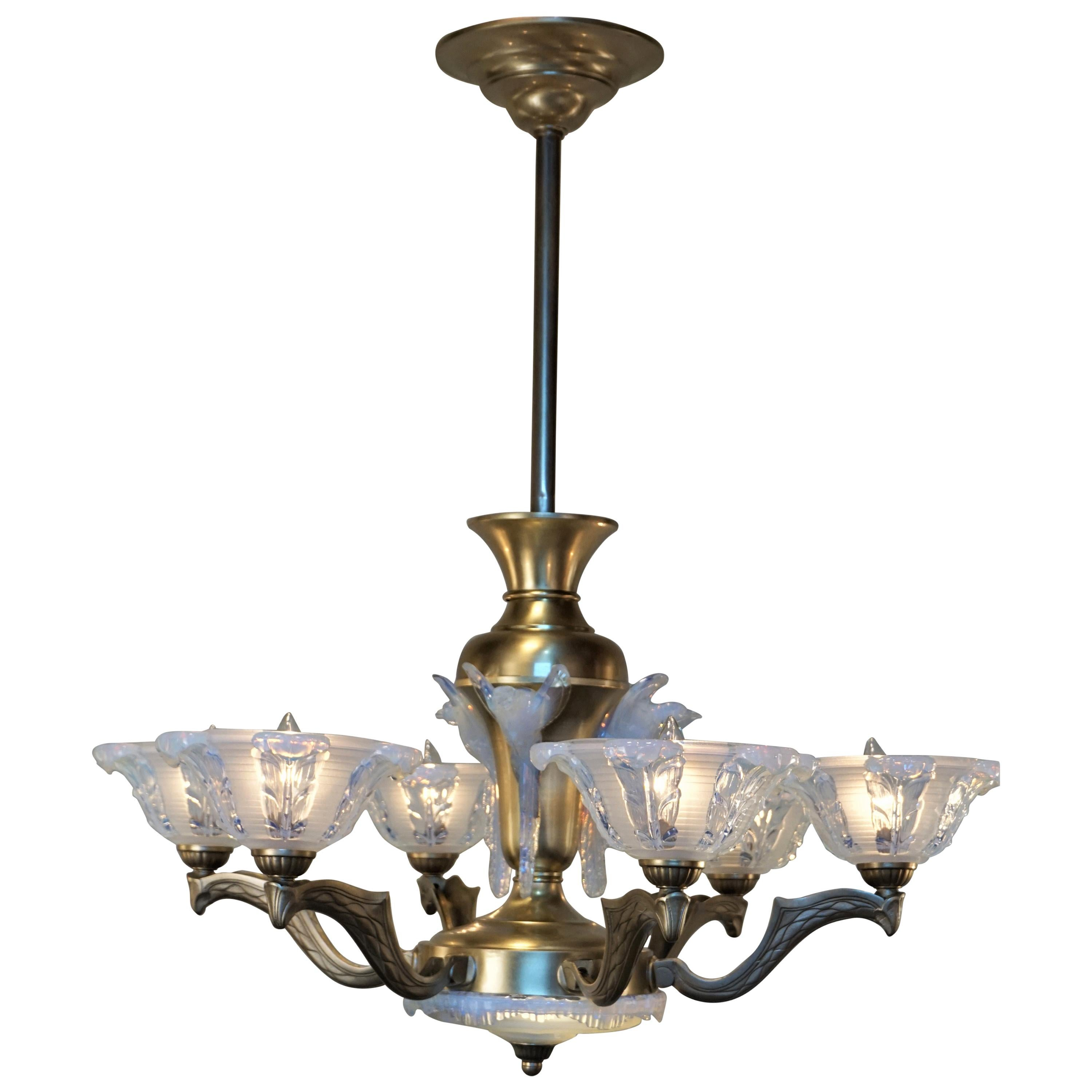 French Art Deco Opalescent Glass Chandelier by