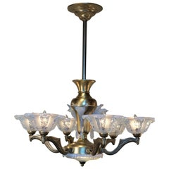French Art Deco Opalescent Glass Chandelier by Ezan