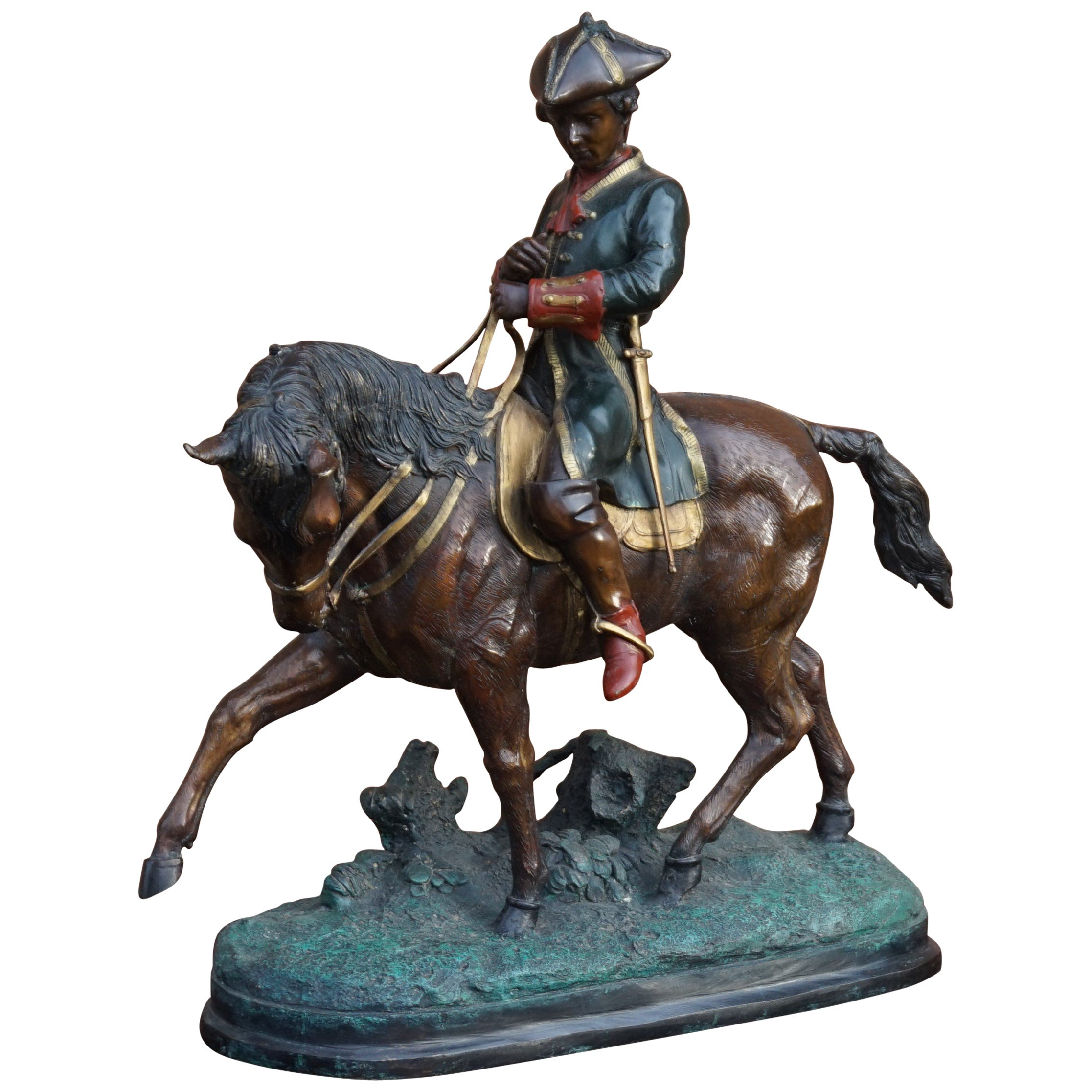 Large Polychrome Painted Bronze Sculpture of a Young Horse Riding Napoleon