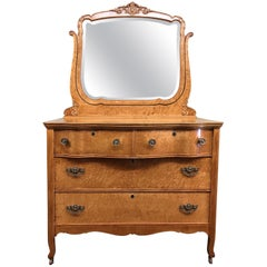 Vintage Curly Maple Dresser and Mirror