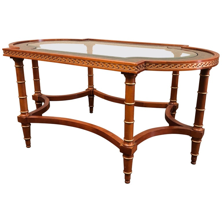 1950s Neoclassical John Widdicomb Wooden Cocktail Table