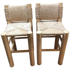 Pair of Kreiss Rush Wrapped Bar Height Stools