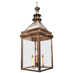 Wonderful Weathered Pagoda Copper Large Pierced Lantern Chinoiserie Fixture