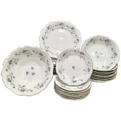 20th Century Porcelain and Platinum German Dinnerware S/25 By, Haviland